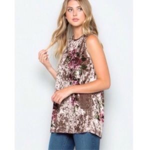 Tops - Taupe Floral Crushed Velvet Tunic